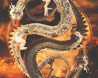 "Yin-Yang Dragons - Chaos: 12 x 18"" Print"