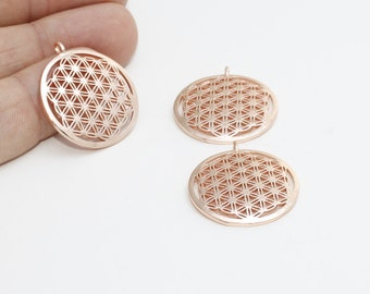 1 Pcs 25mm Rose Gold Flower of Life , Yoga Necklace , Flower of Life Pendant , ROSE209