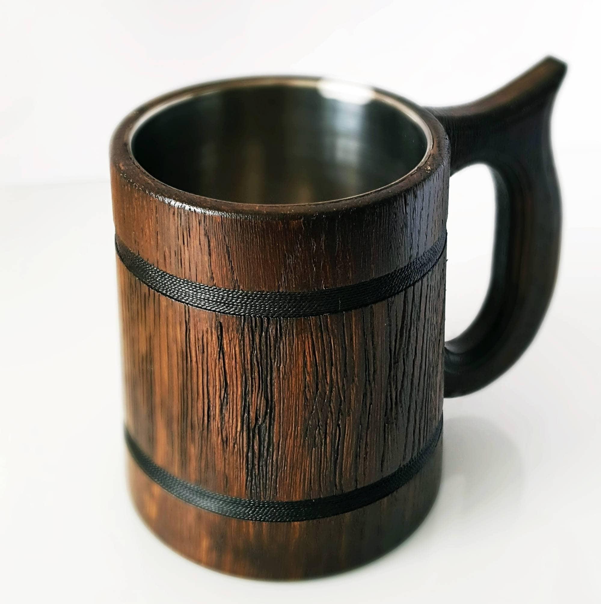 Handmade Wooden Beer Mug Oak Wood Pint Beer Stein Tankard