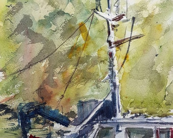 Sailing on The River Thames in Brentford - Original watercolour Landscape Painting - Watercolor