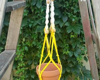Yellow and White Macrame plant hanger