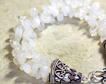 Moonstone Bracelet Sterling Silver Handmade Double Strand Briolette Heart Milky White Bridal Romantic
