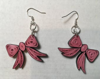 Pink Quilled Paper Bow French Hook Earrings