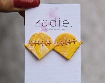 Yellow swirl geometric stitched earrings, stud earrings, drop earrings, unique earrings, statement earrings, colorful earrings