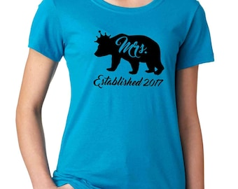 Bear Wedding Anniversary gift for wife Anniversary shirts Mrs Bear shirt Personalized wedding shirts for her 1st anniversary matching tees