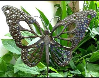 Butterfly Garden Art, Metal Plant Stake, Metal Art,  Plant Stick,  Metal Garden Decor, Metal Butterflies, Outdoor Metal Art - PS-1785