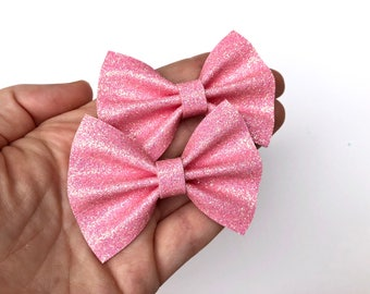 Light Pink Glitter Felt Pigtail Hair Bow Set // Piggie Bows Hair Clips // Pigtail Bows Mini Bows Baby Toddler Bow Set Valentines Day