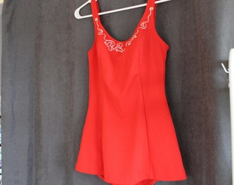 SALE - Vintage Swimsuit, Maillot de Bain, Maillot, Vintage Suit, Red One Piece Swimsuit, Small, 50s, Pinup, Orange Red, Swim Suit