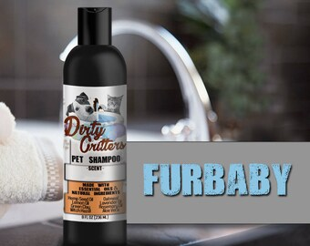 Furbaby Herbal Pet Dog Cat Shampoo Wash Dirty Critters 8 ounce bottle