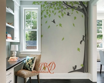 Wall Decal Wall Sticker for baby Nursery, Living room Wall Decor Murals - Giant Corner Tree with falling leaves-DK053