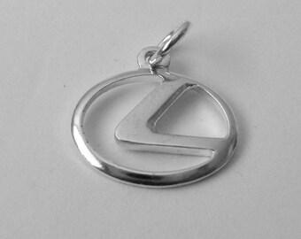 17 mm Genuine Solid 925 STERLING SILVER 3D LEXUS Sign Logo Car charm/pendant