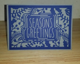 Season's Greetings, Christmas Card, Card, Christmas, Holiday, blue, silver, family, friends, Miss You, love, greetings