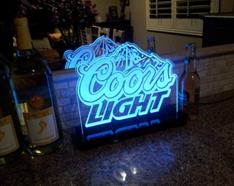 Coors Light Beer Multi color LED Sign with Remote Control -  Made In USA!  -  Great for a Bar - Pub - Man Cave - Game Room - Club