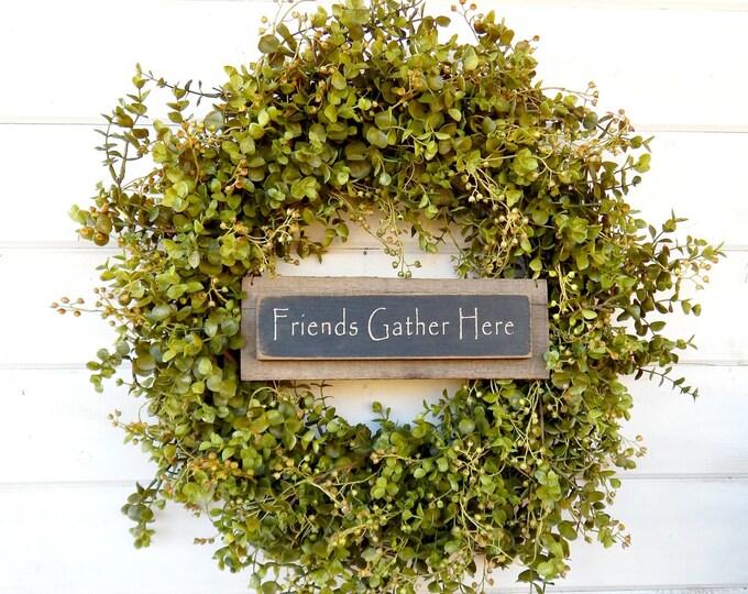 Featured listing image: Summer Wreath-Eucalyptus Wreath-Door Sign-Housewarming Wreath-Fall Wreath-Winter Wreath-Holiday Wreath-Outdoor Wreath-Year Round Wreath-Gift
