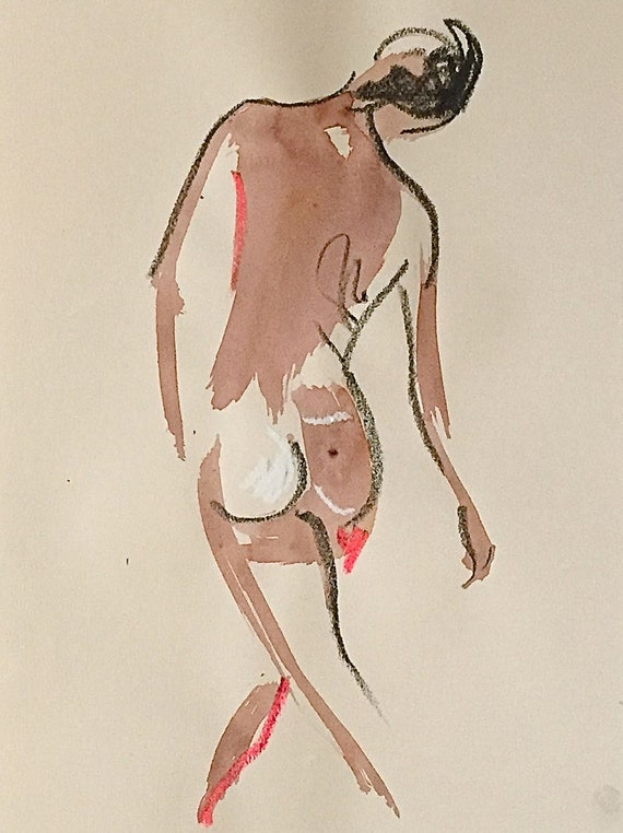 Nude painting of One minute pose 113.1 nude art, original, gesture sketch by Gretchen Kelly