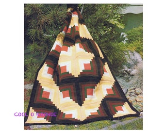 Classic Log Cabin Afghan Crochet Pattern  - Vintage 1970's Digital Crochet Pattern Instant Download