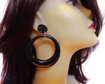 VINTAGE Earrings Black Earrings DANGLE HOOP earrings black 3.5 inch long 2.5 inch wide pierced