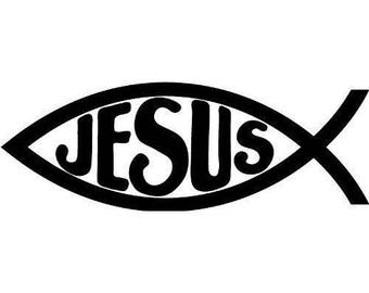 Jesus Fish Religious Faith Vinyl Car Decal Bumper Window Sticker Any Color Multiple Sizes Custom Jenuine Crafts
