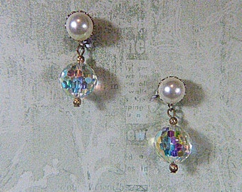 Vintage Pearl and Aurora Borealis Clip Earrings - V-EAR-474 - Pearl Earrings - Aurora Borealis Earrings