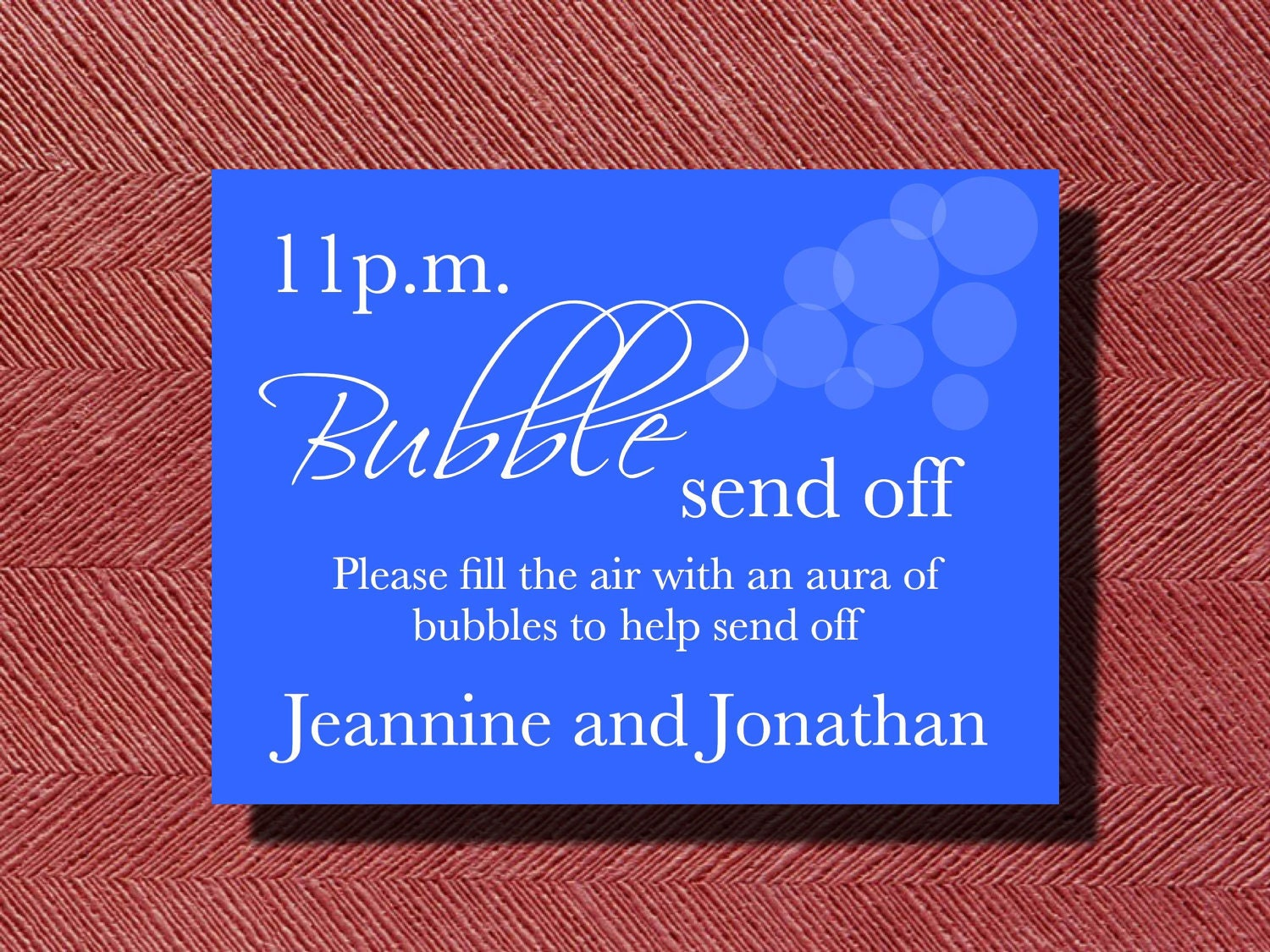 The Original Wedding Day Bubble Send Off Sign