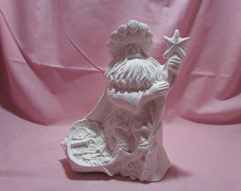 Ceramic Bisque Santa Claus of the Sea with Seahorses U Paint ~ Ready to Paint Unpainted U-Paint DIY Christmas