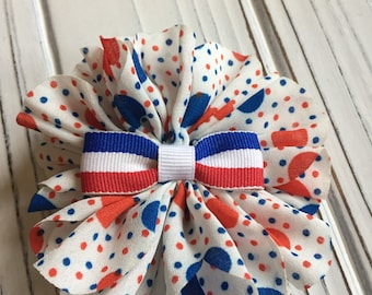 Patriotic / Fourth of July / Red White & Blue Pinwheel Bow Hair Clip