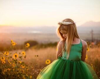 The Grace Dress in Emerald Green - Flower Girl Tutu Dress