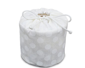 White Gray Grunge with White Circles - Fabric Spare Toilet Paper Cover Cozy Holder