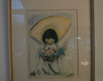 "1977  DeGrazia  ""Flower Girl"" Framed & Matted 1/1  Signed  by Ted DeGrazia called the ""Flower Girl"""