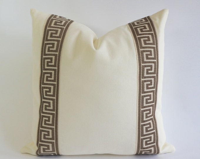 Decorative Pillow Cover Cotton Off White Cotton Canvas with Light Brown Greek Key Ribbon Border - 16x16 To 26x26 -4 Different Color Choices