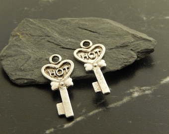 5 Silver key charms