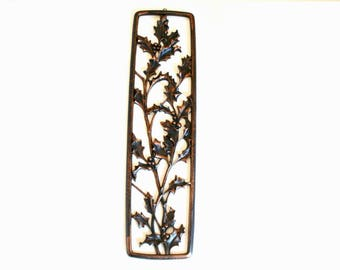 Vintage Oblong Wall Plaque Featuring Holly Leaves & Berries with a Copper Colored Finish by Syroco 1954