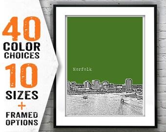Norfolk Virginia Poster Art City Skyline Print VA Item T1261