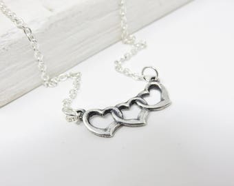 Silver Heart Necklace - 3 Hearts Necklace, Three Friends Necklace, Gift For Valentine's Day Jewelry, Polyamory Jewelry, Gift For Mother Of 3