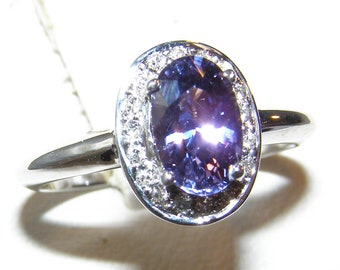 Blue/Purple Sapphire (N)* Diamond Halo Ring 14KWG 1.69 ctw