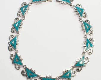 Vintage MIGUEL Mexican Silver and Turquoise Necklace
