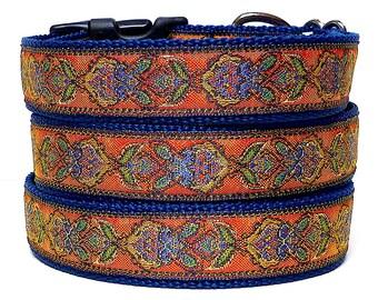GYPSY collar, dog collar, tag collar, buckle collar, navy dog collar, Orange dog collar, house collar, metallic collar, floral collar