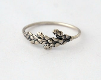 Dainty Cedar ring sterling silver botanical ring made to order
