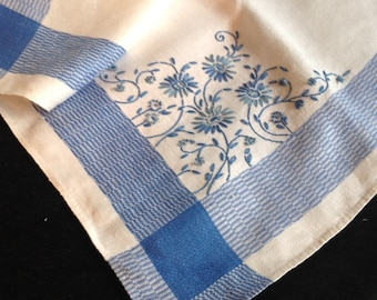 Vintage tablecloth, woven blue on white with handworked embroidery