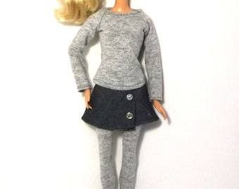 Handmade Barbie Clothes Outfit Grey Long Sleeve T-shirt Blouse