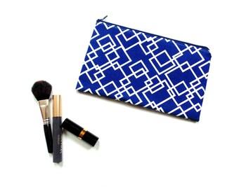 Small cosmetic bag, zipper pouch, make up bag, geometric print, blue white cotton fabric pencil case