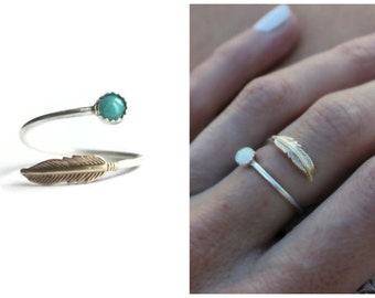 Feather ring, bohemian jewelry, choose your gemstone, turquoise ring, moonstone ring, opal ring, Sterling silver ring, stacking ring