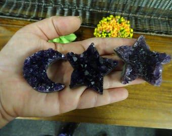 Amethyst Star Druzy - Large Amethyst Quartz Star Druzy Cabochon - Wire Wrapped Jewelry - Decor - (BPS1-B7-01)