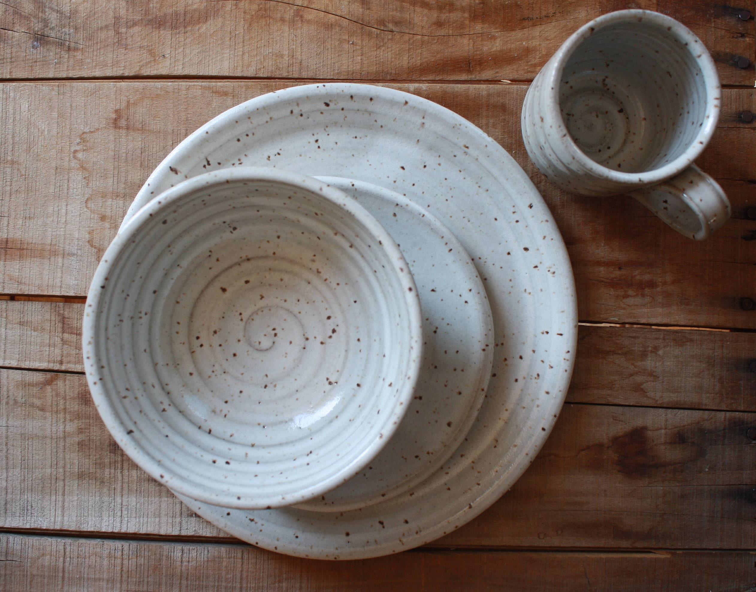 Dinner Ware Set - Four Piece Set - Dinner Plate - Salad Plate - Bowl - Mug - Handmade - Ceramics \u0026 Pottery - KJ Pottery & Dinner Ware Set - Four Piece Set - Dinner Plate - Salad Plate - Bowl ...
