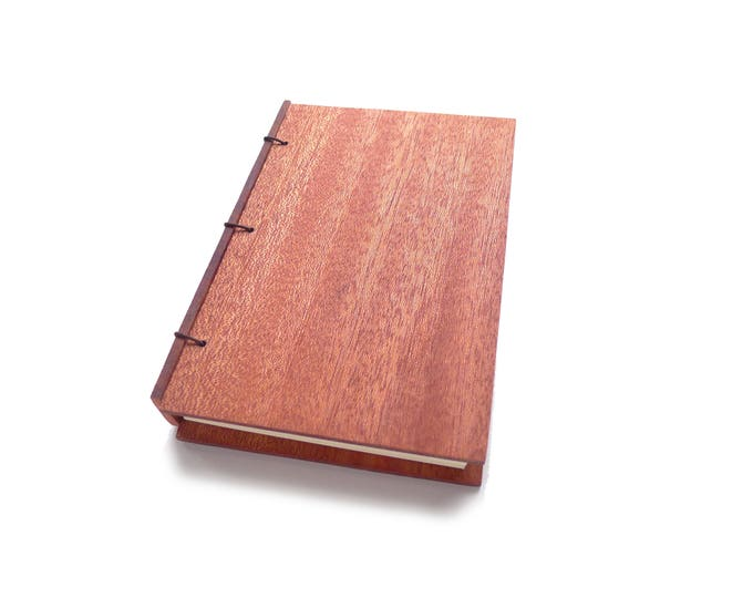 Featured listing image: Mahogany Wooden Notebook Wood Journal Sketchbook Rustic Wood Wedding Guest Book Personalized Journal Refillable Journal Custom Journal
