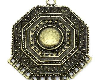 Ethnic charm, connector, Mayan, bronze, 4.7 cm x 4.2 cm, set of 3