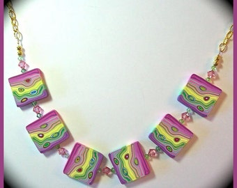 Fun & Funky Polymer Clay and Crystals Statement Necklace 18 in.Handcrafted Magenta Yellow Green Handcrafted Beads Quirky Design