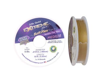 24k Gold Extreme Flex by Soft Flex Beading Wire .019 inch (10 foot spool) Metallic Gold Wire  Gold Extreme SoftFlex Wire, Flexible Wire