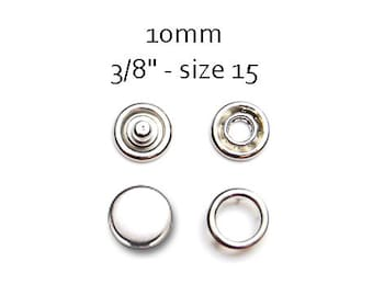 25 sets Metal Fasteners 10MM. capped snaps. clothes fasteners. no sew snap buttons. metal prong snaps. baby bib snaps #700136