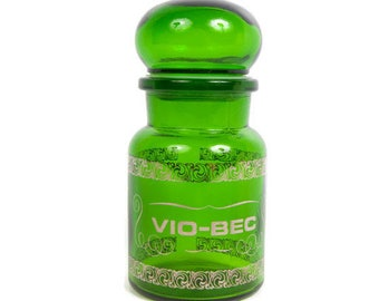 Vintage Green Glass Jar Apothecary VIO-BEC Bubble Lid Made in Belgium Medicine Container